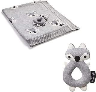 Nuby Little Fox 棉质毛毯,搭配摇铃玩具