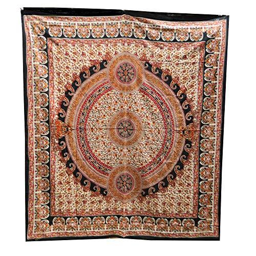 Tagesdecke Paisley rot beige Überwurf indische Decke