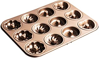 Doughnut Mould Tin Non-Stick Carbon Steel Baking Tray for Donut Cake Biscuit Bagel Muffin 12 Holes 4 Patterns