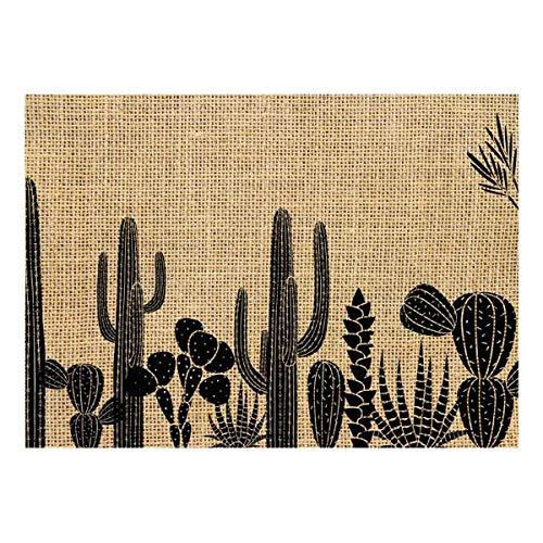 Les Trésors De Lily [Q4135 - Set de Table Toile de Jute 'Cactus' Beige Noir - 42x30 cm