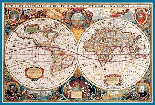 Empire Interactive Cartes Poster Carte du monde antique + accessoires Kunststoff-Rahmen Türkis