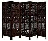 Aarsun Partition Screen/Room Divider (Mango Wood) (5 Panel Mix, Brown)