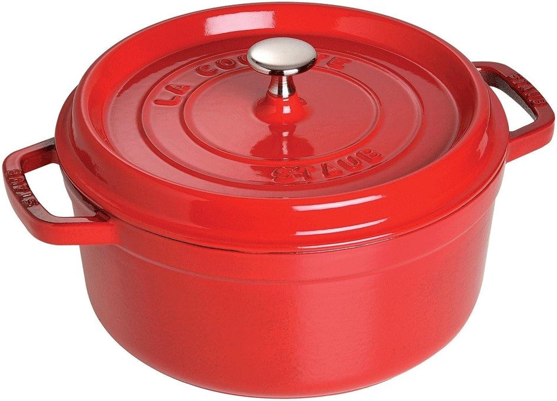 Staub 1102206 Cast Iron Round Cocotte, 2.75-quart, Cherry