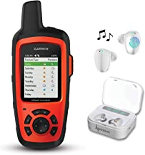 Garmin InReach Explorer+ Handheld Satellite Communicator with GPS Navigation, Maps, and Sensors 010-01735-10 and Wearable4U White Earbuds Ultimate Charging Power Bank Case Bundle