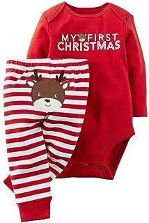 PDYLZWZY Neugeborenes Xmas Baby Junge Mädchen StramplerHose Sets My First Christmas Bedruckt Lange Ärmel Kleine Mädchen Erste Weihnachten Hirsch Weihnachtsmann Outfits Set