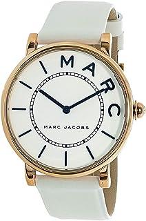ساعة مارك جاكوبس روكسي كوارتز كاجوال بسوار من الستانلس ستيل مع الجلد، لون ابيض (الموديل: MJ1561).