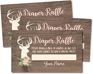 25 Oh Deer Diaper Raffle Ticket Lottery Insert Cards for Girl Baby Shower Invitations, Buck Hunting Supplies and Games for Gender Party, Bring a Pack of Diapers to Win Favors, Gifts and Prizes