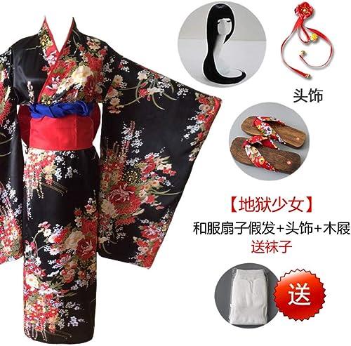 Cosplayu Hell Girl Enma AI Cosplay Uniform Kimono Anime Cosplay Costume Kimono Fan wig + HeadRobe + Hibiscus _XXL