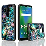 UNC Pro for Cricket Influence Case/AT&T Maestro Plus (V350U) Case, Mandala Galaxy Gold Foil Embedded Hybrid Cell Phone Case for Women Girls, Shockproof Bumper Cover