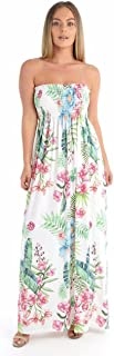Ladies Leaf Floral and Rainbow Printed Bandeau Sheering Long & Short Maxi Dress
