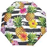 Flor Floral de Rayas de piña Tropical Paraguas Abierto automático Paraguas de Lluvia Solar Paraguas automático Compacto Plegable Ultravioleta
