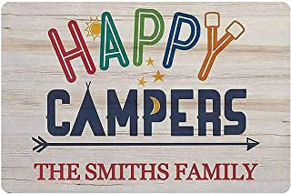Auwozc Personalized Happy Campers Sign - Durable Metal/Wood Sign - Use Indoor/Outdoor - Great Gift and Decor for Cabin, RV...