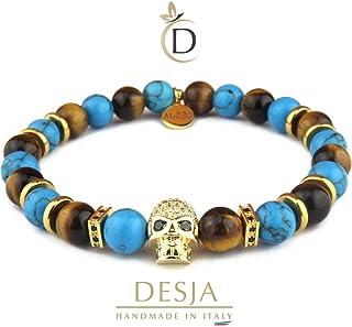 Bracciale uomo con Teschio e pietre dura naturali Turchese azzurro e Occhio di tigre