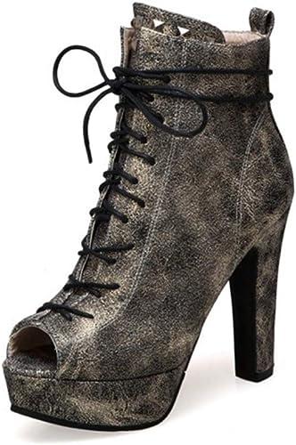 YAN MesLes dames Sandales 2019 Nouvelle Mode Bottes PU Cheville Chaussures Laçage Fermeture éclair Talons nouveauté Chaussures fête de Mariage et soirée Or Noir,B,36