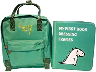 Quiet Book/Activity Book/Best Educational Toy for Babies and Toddlers. Early Learning Toys for Boys and Girls,Safety Fabric Book for Sensory,Montessori method--My First Book 2-Dressing Frames. (green)
