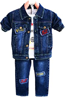 4-7Years Little Boys Denim Eagle Jacket and Jeans with...