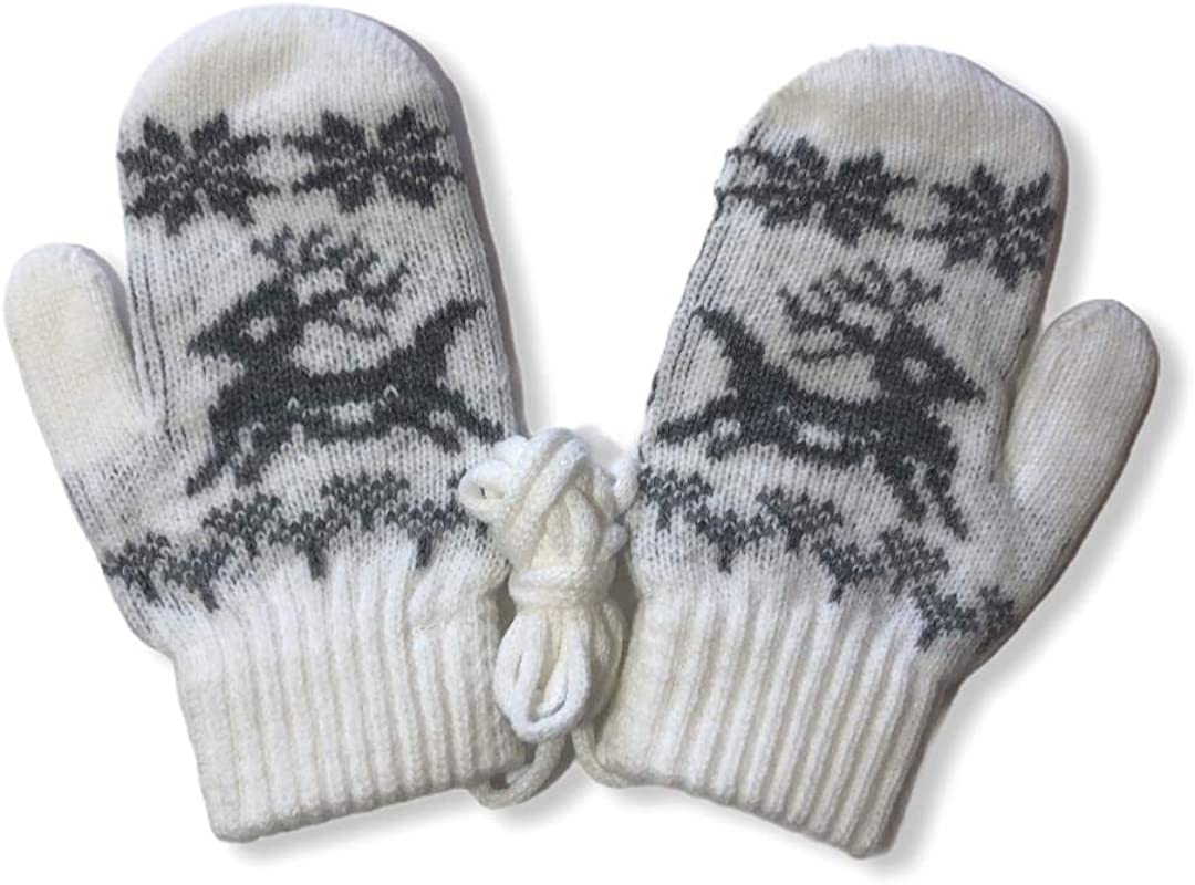 Cris & Miss Warm Winter Thermal Knitted Acrylic Mittens with Rope for Children Boys and Girls