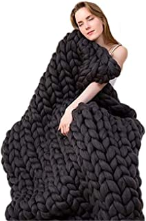 Handmade Blanket Wool Blend Arm Knit Throw Super Large Hand Knitting Yarn Pet Bed Chair Sofa Yoga Mat Rug,Black