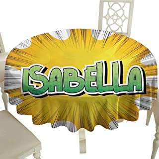 Cranekey Vintage Round Tablecloth 60 Inch Isabella,American Birth Name on Retro Style Fun Cartoon Backdrop Poster Design,Yellow Green and White Great for,restauran & More