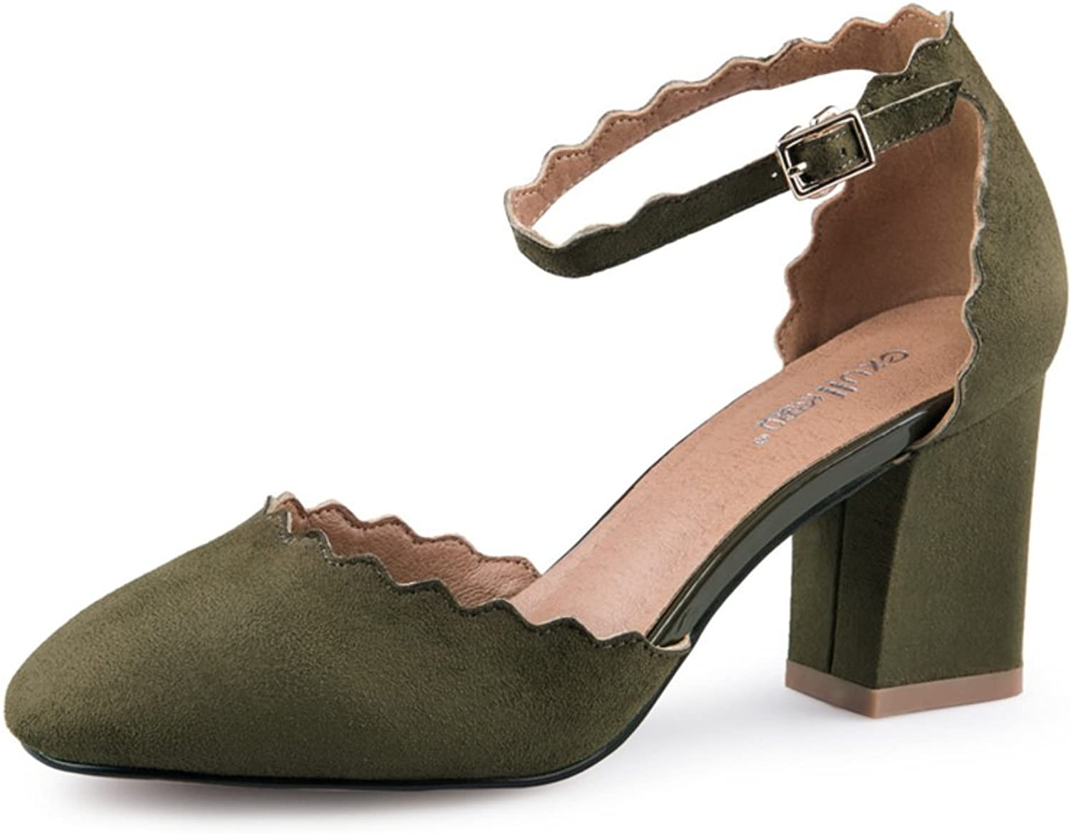 MET RXL Spring and Autumn Suede shoes Light-Mouth Buckle Belt shoes Lady shoes.