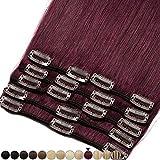 8'-24' Extension a Clip Cheveux Naturel Rajout Vrai Cheveux Humain Remy - Volume Moyen 8 Pcs (#99J Vin rouge, 25cm-70g)