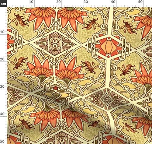 2084, Wabe, Wabenmuster, Golden, Biene, Diamant, Jugendstil Stoffe - Individuell Bedruckt von Spoonflower - Design von Edsel2084 Gedruckt auf Bio Musselin