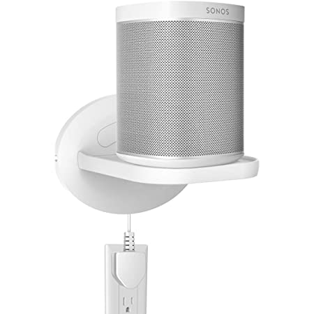 Sonos Speaker Wall Mount Shelf Holder for Sonos One (Gen 2)- Google Nest Mini , Google Nest WiFi - Adjustments for Best Audio , Hold up to 15 lbs - White