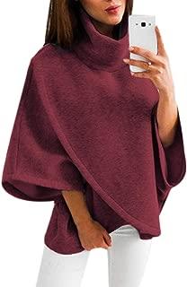 YOINS Damen Poncho Oberteil Pullover Winter Warm Asymmetrische für Damen Pulli Cardigan Sweatshirt Rollkragenpullover Langarm