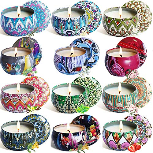 Relax Deep Sleep Scented Candles, Lemon, Fig, Lavender, Spring Fresh,Rose ,Jasmine,Vanilla,Bergamot,Strawberry, Peppermint, Rosemary, Gardenia,Natural Soy Wax Portable Travel Tin Fragrance,-12 Pack