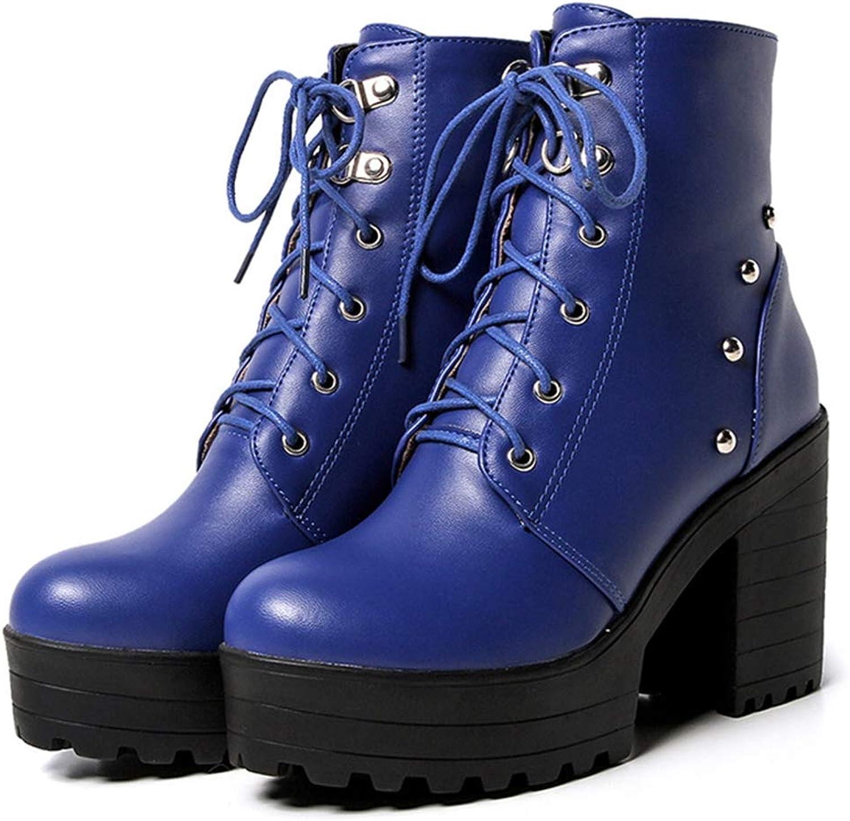 Hoxekle kvinnor Winter Ankle Boot Square High Thick Thick Thick Heel Martin Style Lace Uppe Pointed Toe Tillfälliga Kvinnliga skor  klassiskt mode