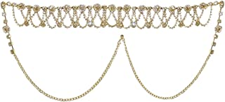 DollsofIndia White Stone Studded Golden Metal Kamarband for Women - Waistband - 10 inches Chain - 20 inches (KX87)