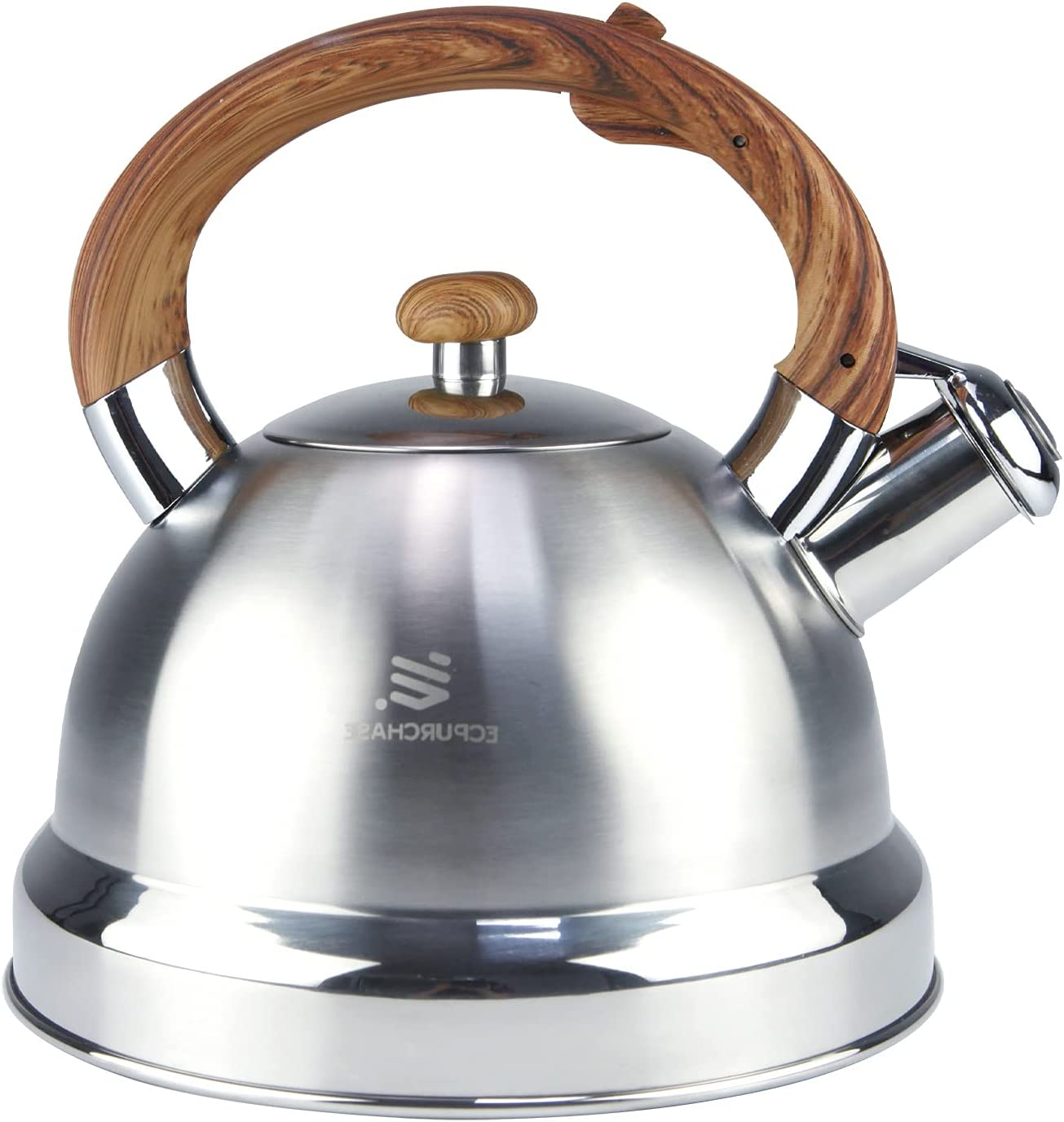 Stainless Steel Tea Kettles With Wood Pattern Handle - Loud Whistling Tea Kettle For Stove Top - Teapot Stovetop Water Kettle Tea Pot For Induction Cooker, Electric, Gas, Halogen, Radiant Stove