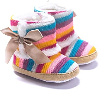 DZT1968 Baby Girl Rainbow Stripe Coral Fleece Snow Boots Shoes with Bowknot