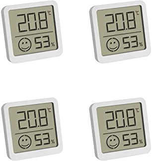 TFA Dostmann 30.5053.02.04 Lot de 4 thermomètres hygromètres numériques avec température intérieure et humidité, petit et ...