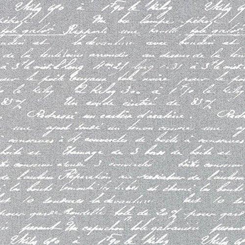 Baumwollstoff Poetique 2 hellgrau — Meterware ab 0,5m — STANDARD 100 by OEKO-TEX® Produktklasse II — zum Nähen von Kissen/Tagesdecken, Taschen & Bettwäsche