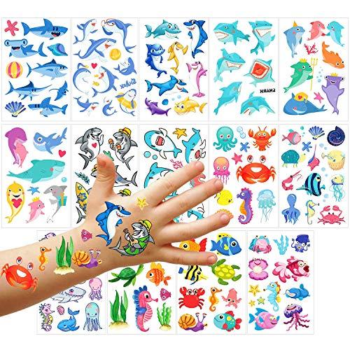 PHOGARY Tatuajes Temporales para Niños (100 Piezas), Tatuajes Temáticos del Mundo Marino (14 Hojas): Tiburón, Tortuga, Caballito De Mar, Estrella De Mar, Pulpo, Cangrejo, Tatuajes Falsos