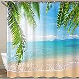 NISENASU Rideau de Douche avec 12 Crochets,Palm et Plage Tropicale,Large Choix de Beaux Rideaux de Douche,de Haute qualité,imperméable 180 * 180 cm