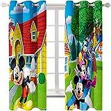 Ssghio Mickey Mouse Diseño Cortina Opaca con Ojales - Cortinas Aislantes Térmicas, Reducción de Ruido, Proteccion Intimidad para Hogar Ventanas Habitación Niño Salon 220 x 215cm