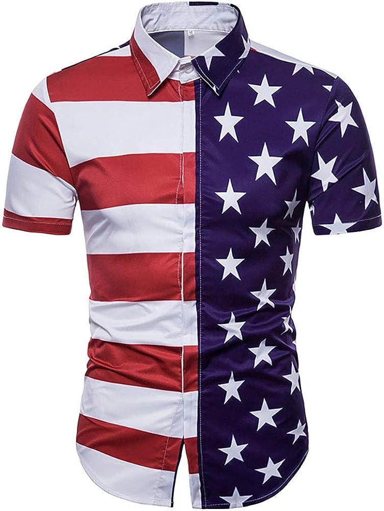 GRAJTCIN Men's American Flag Casual Button Down Short Sleeve Shirt