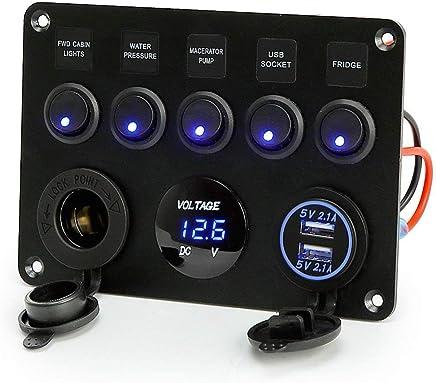 Gazechimp Multi Port USB Charger with Cover Universal for 12V-24V Cars Marine