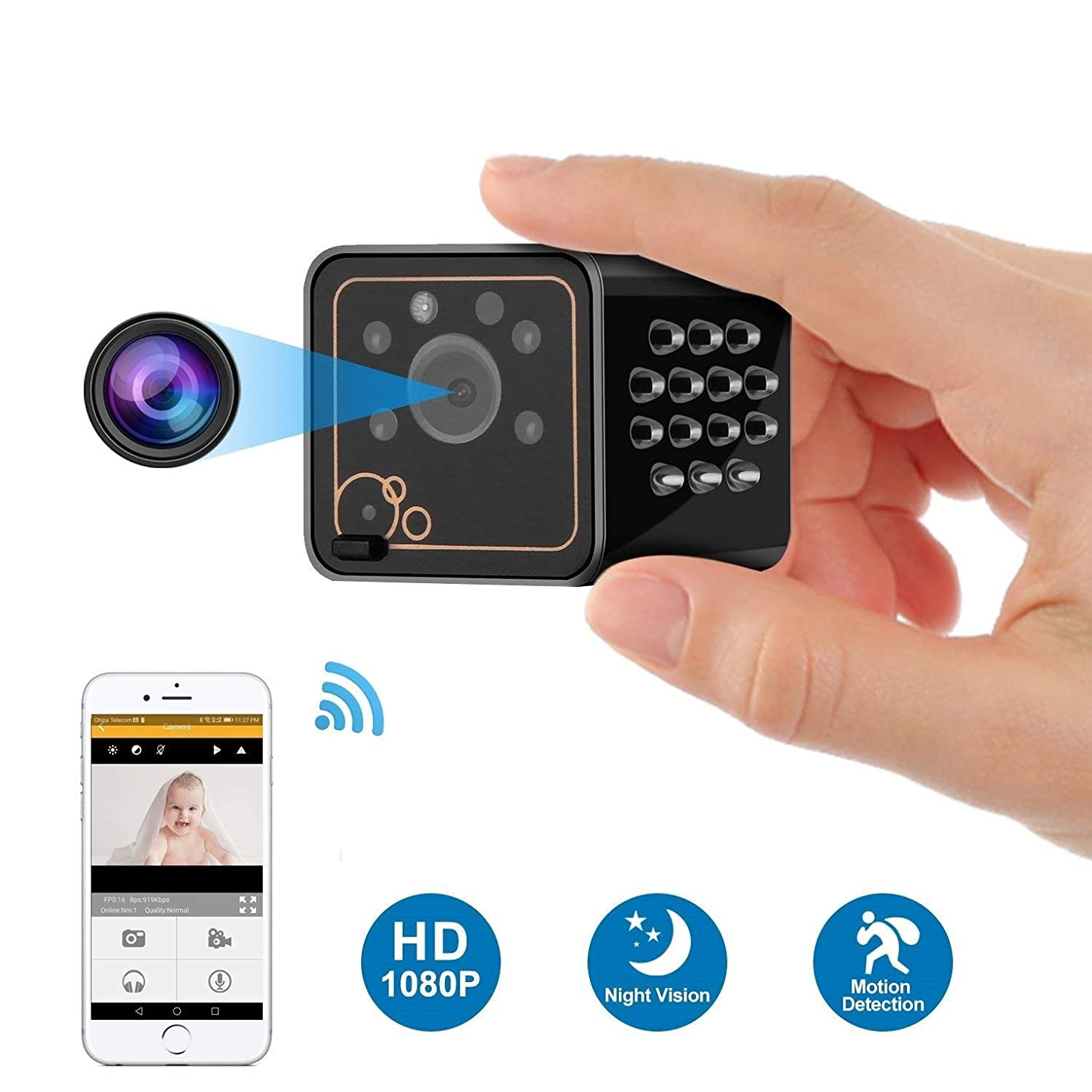 MYXMY Spy Camera Wireless Hidden Camera, Latest 1080P Hidden Camera Video Recorder, WiFi Nanny Cam with Night Vision, IP Security Camera for Home Security Monitoring (Color : No Memory Card)