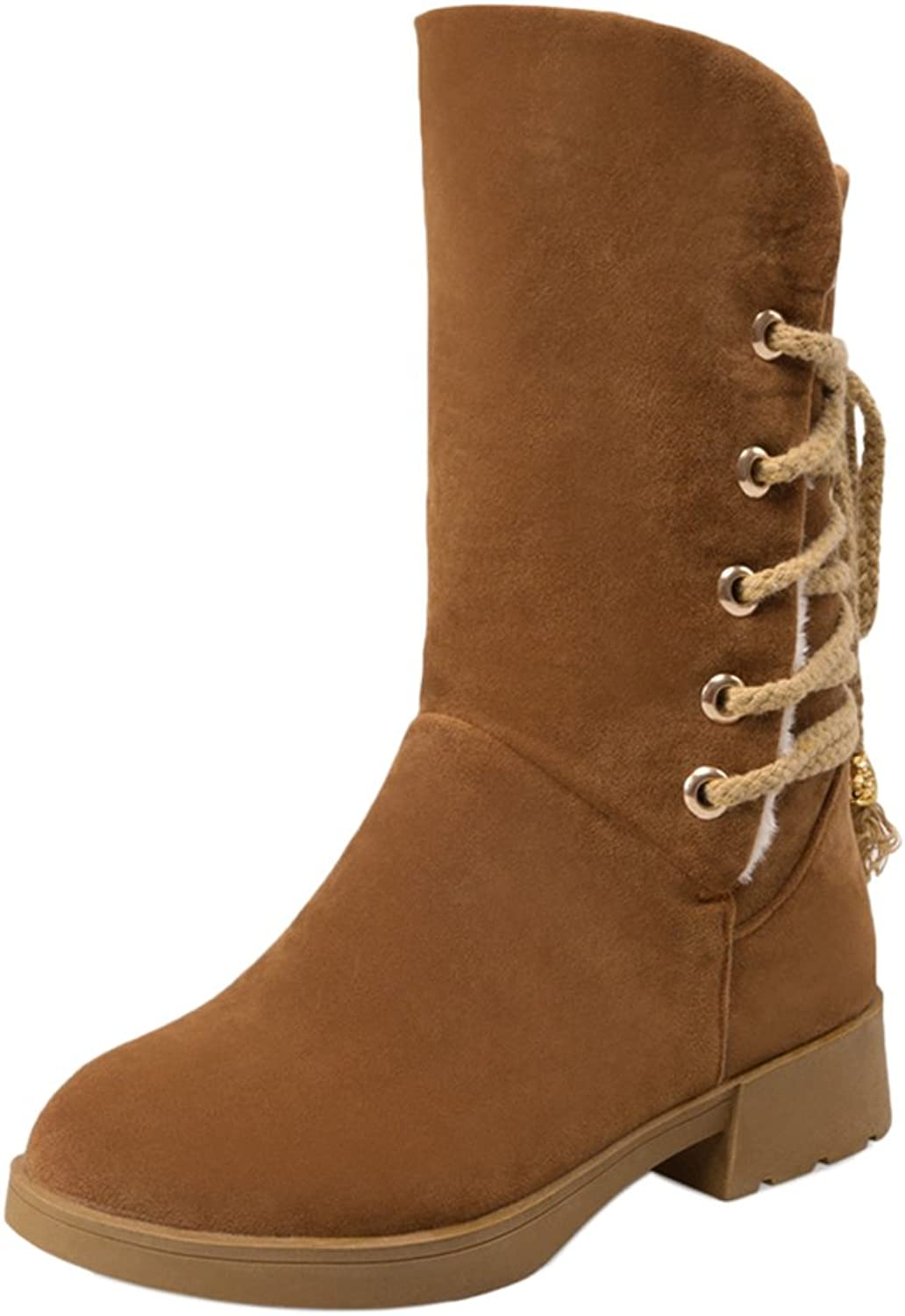 RizaBina Women Comfort Lace Up Mid Calf Boots Warm Lined