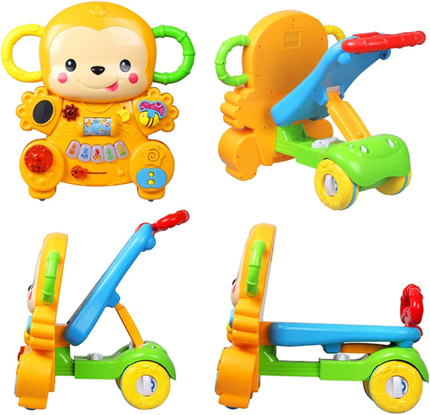 Baby First Steps Walker Multifunction Trolley Early Learning Puzzle 7-18 Months Driving Toys 2 In1 Baby Walker And Push Power Ride,Yellow