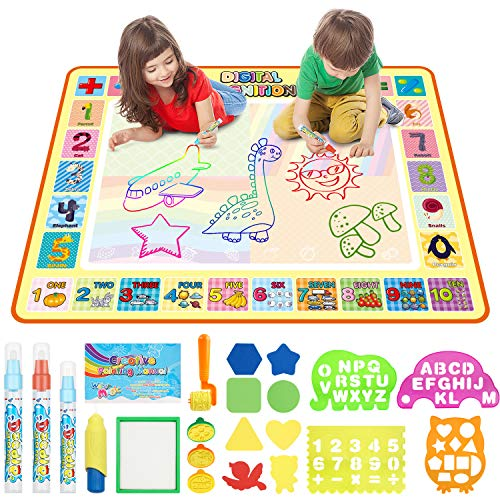 Aqua Magic Doodle Mat 40 x 31 Inches Kids Water Drawing Mat Doodle Board Educational Toys Gifts for...