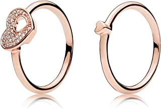 Puzzle Heart Ring Set Rose Gold Plated 925 Sterling Silver with Clear CZ