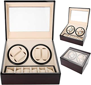 Salmue - Scatola Girevole per Orologi, per 4 Orologi Automatici, 6 vetrina di archiviazione di Orologi, Custodia per Orolo...