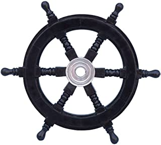 Hampton Nautical  Deluxe Class Black Wood and Chrome Decorative Pirate Ship Steering Wheel 12