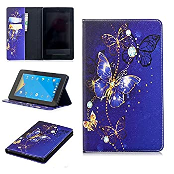 Anvas Kindle Fire 7 2017 Case - Super Lightweight Slim Fit Standing PU Leather Cover with Auto Wake/Sleep Feature for Amazon Kindle Fire 7 7  7th Gen 2017 Release,Bluish Violet Butterfly