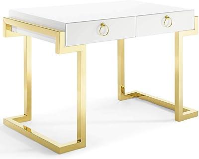 Modway Ring Office Desk, Gold White