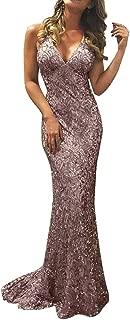 FAPIZI Women Floor-Length Dress Sequin Sleeveless Backless V Neck Bodycon Cocktail Party Long Dress